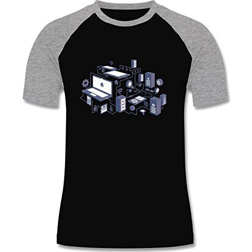 Nerds & Geeks - Netzwerk Design - zweifarbiges Baseballshirt für Männer Schwarz/Grau Meliert