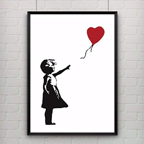 Schwarze Und Weiße, Rote Ballon Dekoration Leinwand Gemälde Kunstdruck Poster Bild Wand Modernen Minimalistischen Schlafzimmer Wohnzimmer Dekoration Drucken Malerei(1), 30 * 40 ()