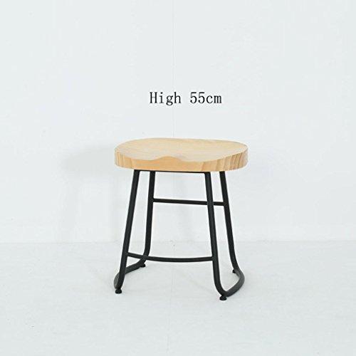 Bar Höhe Faux Holz (Lh$yu Retro Küche Hocker mit Metall Beine High Hocker Bar Hocker Pure Holz Sitz Frühstück Bar, Höhe 45cm / 55cm / 65cm / 75cm für Kitchen Counter Bar, 2 Gute Qualität Durable)