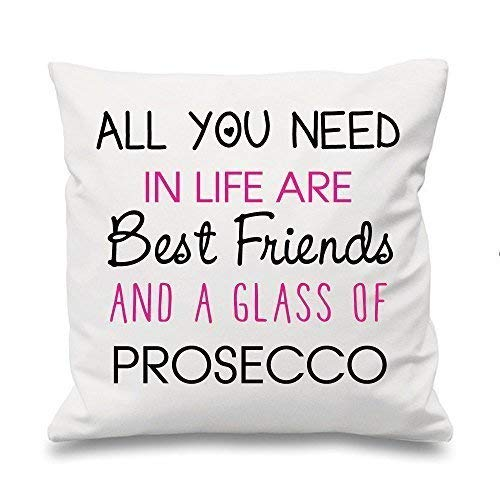 BIANCO Copricuscino All You Need In Life Are MIGLIORI AMICI E UN Glass of Prosecco 16 ' x 16 ' MAMMA IDEA REGALO PER AMICI...