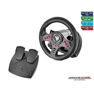 Subsonic SA5426 Lenkrad Racing Wheel Universal mit Pedaleinheit und paletten zum Verschieben für Playstation 4/ PS4 Slim/PS4 Pro/ Xbox One/PS3 schwarz