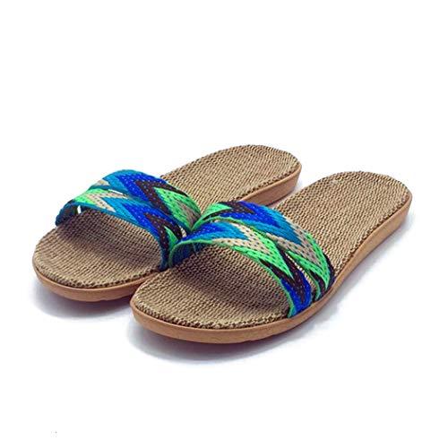 Zapatillas de Primavera Mujer Ropa Interior de Lino Sandalias de Playa Planas Casuales para Mujer Zapatos de Chanclas