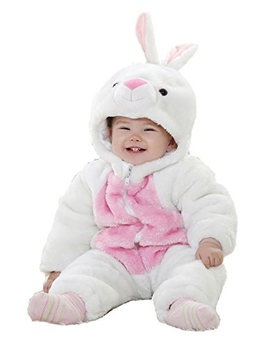 Conejo Animal Bebé Disfraz 3-24M manga larga de franela One piece bebé ropa bebé Pelele blanco blanco Talla:6-12M