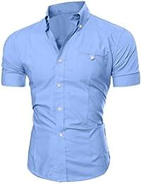 Winwintom Los hombres de negocios de lujo elegante moda Casual Slim Fit de manga corta camiseta