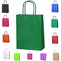 20bolsas de papel kraft con asas trenzadas e ideales para utilizar en fiestas o para hacer regalos, verde oscuro, XS