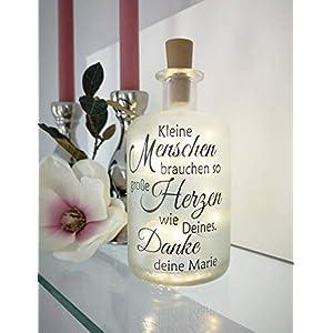 AScreativ Dekoflasche mit Beleuchtung Erzieher/in Tagesmutter Lehrer/in Kindergarten Abschiedsgeschenk * Beleuchtung * Flaschenlampe Flaschenlicht * Bottlelight – Statement Spruch Flasche