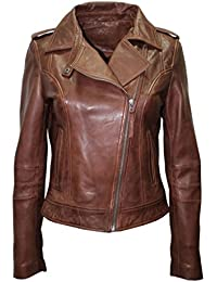 Infinity Ladies Retro BRANDO 442 Chestnut Brown Biker Casual Soft Nappa Leather Jacket