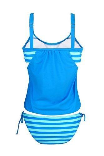Ninimour Damen Tankini Bikini Set Streifen zweiteilig Badeanzug Swimsuit Blau