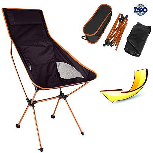 Risilays sedia da campeggio allungata pieghevole, sgabello portatile leggero con borsa da trasporto, per escursionismo, pesca, spiaggia feste all'aperto con nylon e lega di allumini (arancione)