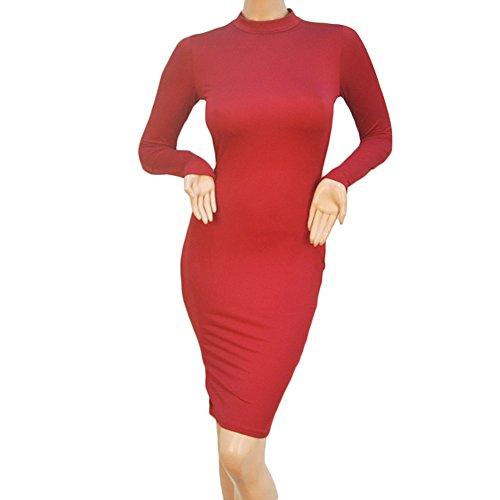 D9Q Frauen Reizvolle Elegante Dünne Herbst And Winter Lange Hülsen Verband Verein Kleid Rot