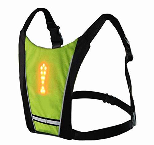 Novago Fahrradweste, gelb, wiederaufladbar, über USB, reflektierend, mit LED-Blinker, Fernbedienung, für Radfahren, Laufen, Joggen -