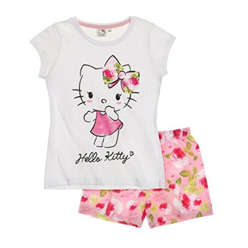 Hello Kitty Kinder Schlafanzug (Hello Kitty Mädchen Shorty-Pyjama - weiß - 116)