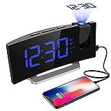 Radio Despertador Digital Proyector, Mpow FM Radio Reloj Despertadores Digitales de Proyección, Alarma Dual con 4 Sonidos 3 Tonos, Puerto USB, Pantalla LED 5'& 6 Brillos, 12/24 Hora, Snooze