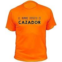 Camiseta de caza, El hombre perfecto es cazador - Ideas regalos (30178, Naranja, XXL)