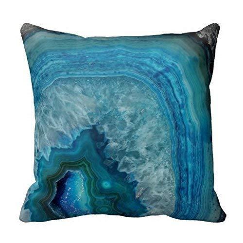 HOTNING Zierkissenbezüge, Throw Pillow Covers, Throw Pillow case, Cap Blue Geode Crystal Design Cushion Throw Pillow Case Blue Crystal Case