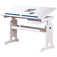 Links 40100500 Baru - Escritorio infantil (tablero de madera y madera maciza, altura e inclinación regulables, 1 cajón, 109 x 55 x 63/88 cm), accesorios en color blanco, rosa y azul