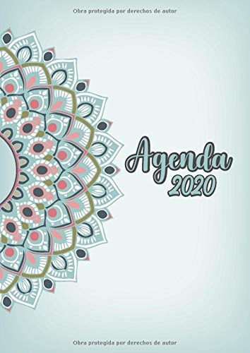 Agenda 2020: Tema Mandalas Agenda Mensual y Semanal + Organizador Diario I Planificador Semana Vista A4 color aqua verde