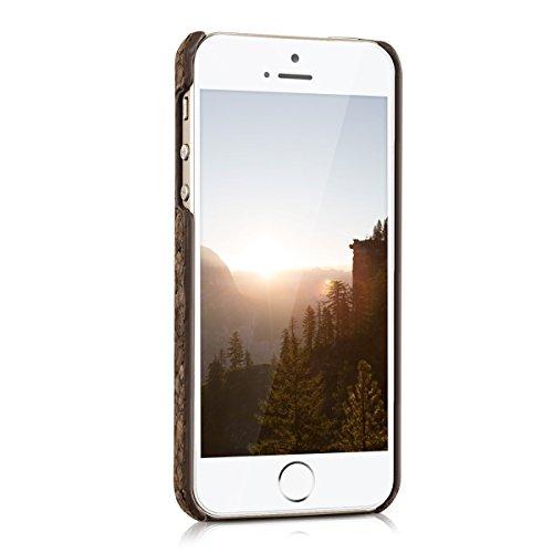 kwmobile Housse en liège pour Apple iPhone SE / 5 / 5S - Case housse de protection avec design Design soleil indien .Marron foncé