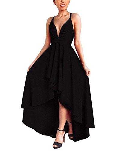 Abravo Femme Robe de Cocktail Mariage Soirée Elégant Asymétrique sans Manches Dos Nu Bandage Swing Robe - Noir - M