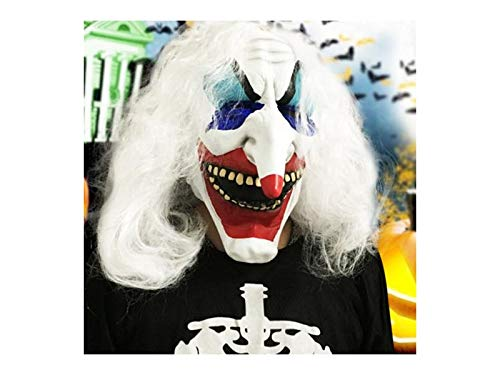 TjcmSs Halloween Dekoration Kreative bemalte Latex Maske lustige Lange Nase Clown Maske für Halloween Requisiten (weiß)