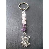 Angel Gemstone Keyring Handbag Charm Amethyst Rose Quartz Healing Crystals Gift