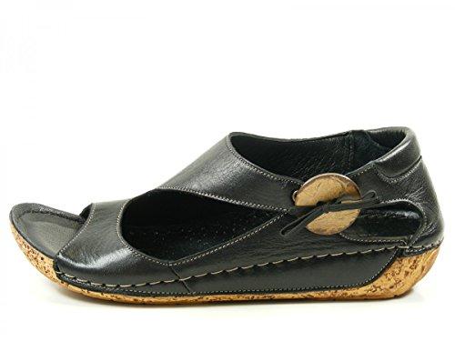Gemini 32029-02 Schuhe Damen Keil Sandalen Sandaletten Leder Schwarz