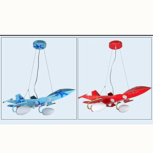 Guo Kinderzimmer Schlafzimmer Lichter Kämpfer Kreative Kronleuchter Junge Aircraft Lichter Eisen E27 Lampe Port ( farbe : Blau ) - 3