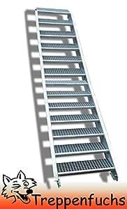 Inklusive Zubeh/ör Wangentreppe Stabile Industrietreppe f/ür den Au/ßenbereich Robuste Au/ßentreppe 4 Stufen Stahltreppe Breite 60 cm Geschossh/öhe 55-85cm