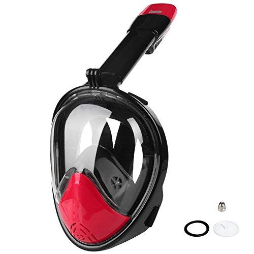 Cadrim Schnorchelmaske GoPro Kompatible, Vollgesichts Atmung Schnorchelmaske, Tauchmaske, vollmaske, kurzsichtige Tauchmaske mit 180 Grad Blickfeld für Erwachsene und Kinder (schwarz-rot, L/XL)