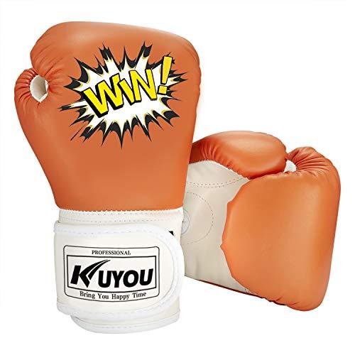 Kinder Boxhandschuhe 4oz Kinder Cartoon Sparring Boxhandschuhe Training Mitts Junior Punch PU Leder Alter 5–12 Jahre (orange)