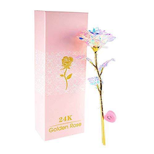 Tensay Ewiger 24K Goldfolie Rose Blume Vollblütengeschenke Romantisches mit Kasten Handgefertigt Kreatives Muttertagsgeschenk Valentinstag Hausgarten Dekoration Handwerk (LED-Licht)
