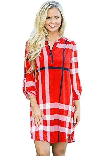 Nuovo da donna rosso plaid arco Hemline camicia vestito mini vestito da sera estate vestiti da festa taglia S UK 8-10EU 36-38