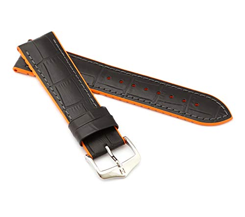 mance Uhrenarmband Modell Andy 20 mm Schwarz/orange ()