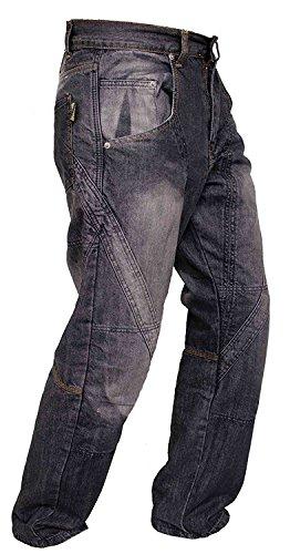 Newfacelook Schwarze Motorradhose Rüstungen motorrad Hose Jeans mit Aramid verstärkt Schutzauskleidung W36-L34