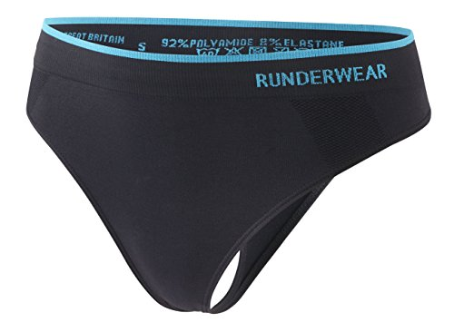 Runderwear G-String Tanga für Damen - Schnelltrocknend & Hautfreundlich - Ideal zum Joggen und Fitnesstraining, Schwarz, S
