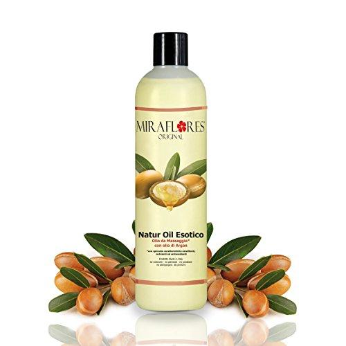 Aceite de masaje con aceite de argán - Botella de 500 ml - Emoliente, nutritivo y antioxidante - Para pieles suaves y sensibles - Masaje profesional, envolvente y relajante - Fragancia exótica