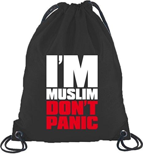 Shirtstreet24, I'M MUSLIM RED,Religion Moslem Islam Turnbeutel Rucksack Sport Beutel Schwarz