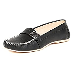 TEN Black Synthetic Leather Loafers