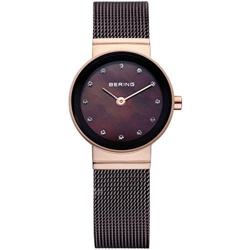 Bering Time Classic Women's Quartz Watch with Stainless Steel Strap – Brown