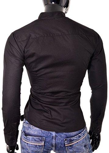 Elégant D&R Fashion Shirt Hommes avec Band Collar Slim Fit Blanc Noir coton Noir