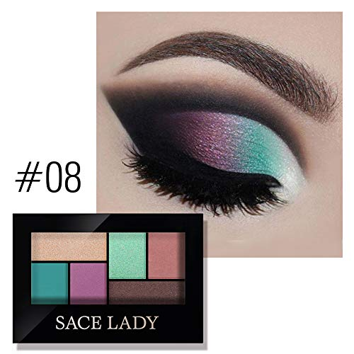Allbestaye 6 Farben Lidschatten Palette Matt Wasserfest Smoky Makeup Charming Shimmer Powder Halloween Festival Gift