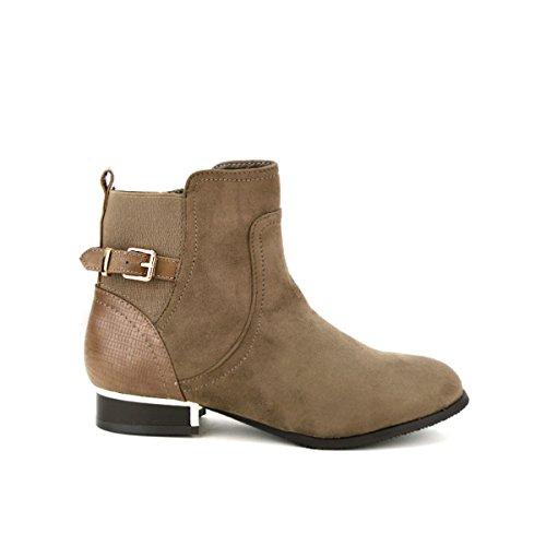 Cendriyon, Bottine Simili peau cuir Taupe MOANA Chaussures Femme Taupe