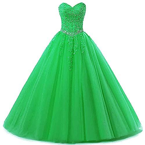 Zorayi Damen Liebsten Lang Tüll Formellen Abendkleid Ballkleid Festkleider Grün Größe 52