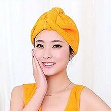 Kicode Microfibra ultra absorbente de la torcedura del pelo del turbante de secado Cap pelo del abrigo(naranja)