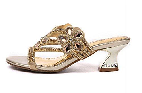Sandalen und Pantoffel weiblicher Sommer Mode wilde weiblichen Hausschuh mit Strass in offenen Sandalen waren dünn Oberbekleidung Gold