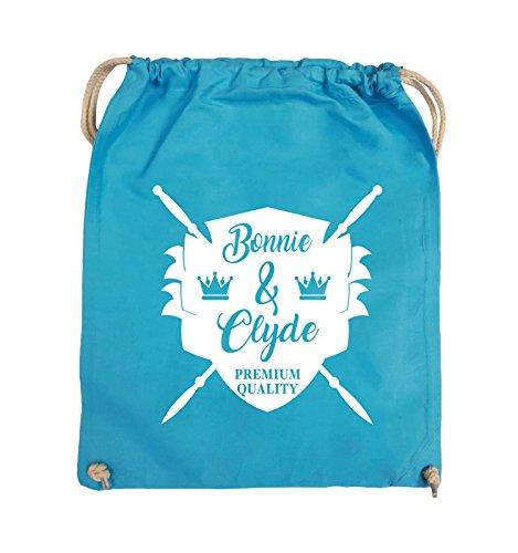 Buste Comiche - Bonnie & Clyde Knight - Motivo - Borsa Girevole - 37x46cm - Colore: Nero / Argento Azzurro / Bianco