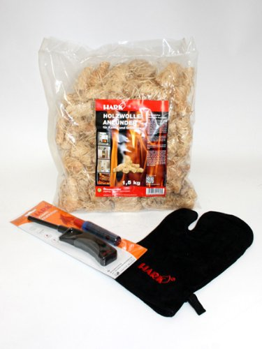 HARK Kaminofen Grillset Geschenkset Zubehör Handschuh Feuerzeug Anzünder