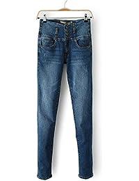 YFCTASQX Pantalones de Mezclilla Originales de Otoño de Cintura Alta para  Mujeres 2a43fd70b7d