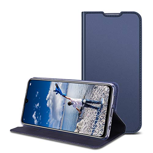 RuiPower Kompatibel für Huawei P30 Hülle Handyhülle Schutzhülle Leder PU Wallet Flip Case Lederhülle Ledertasche Klapphülle Klappbar Magnetisch Ultra Dünn Slim Inner Silikon - Blau -