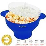 Firlar Micro-ondes à Popcorn Robuste Pratique, Poignées en Silicone Popcorn Maker, Pliable Bol avec Couvercle (Bleu)